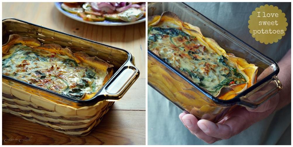 Pastel de batata, queso y espinacas