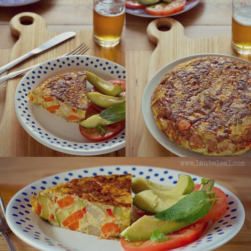 Tortilla vegetal con colinabos y verduras